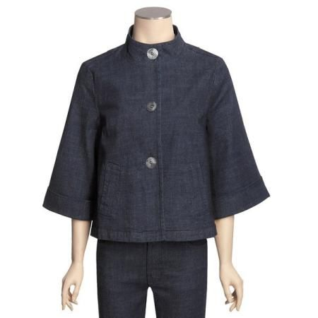 Casual Studio Swing Jacket - Stretch Denim, Mock Neck, 3/4 Sleeve (For Women) ? INDIGO
