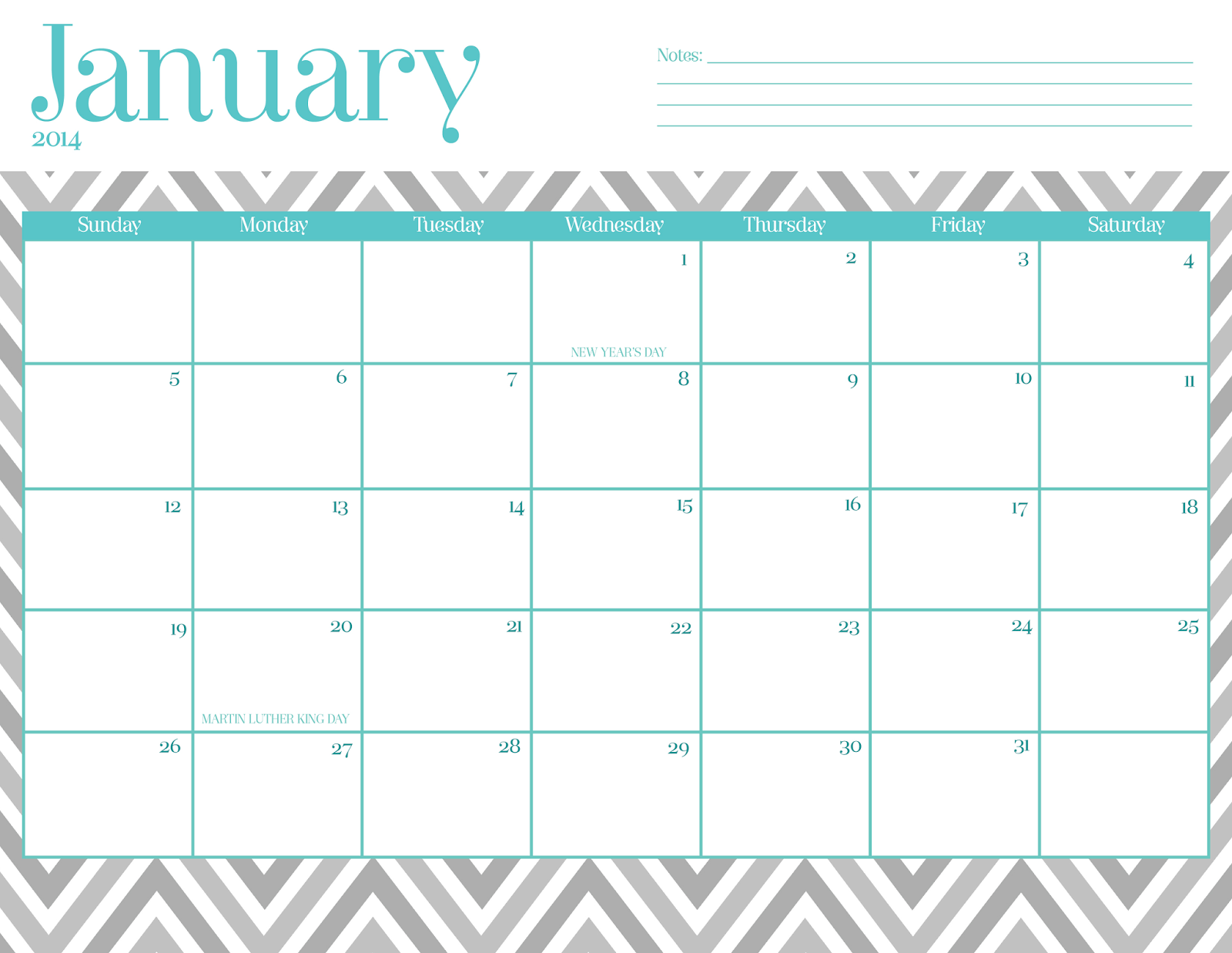 Free Cute Printable Chevron Calendar   Download
