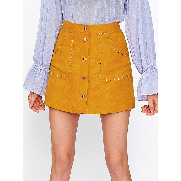 2ead0000c7 SheIn(sheinside) Studded Button Up Suede Skirt ($14) ❤ liked on Polyvore  featuring skirts, mini skirts, yellow, yellow high waisted skirt, high  waisted ...