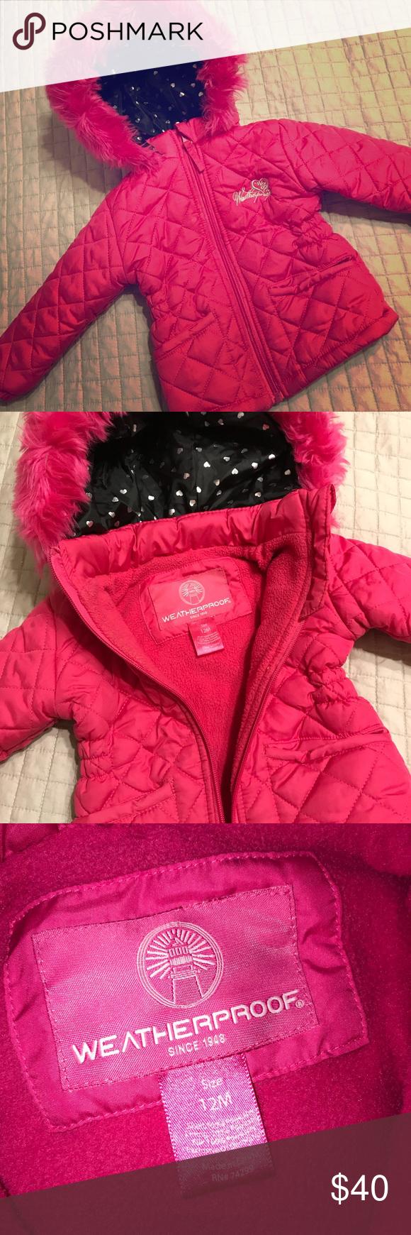 Kids Winter Jacket Weatherproof Winter Jacket 12 Months Fleece Lined Inside Hood Is Black With Silver Hearts Weathe Kids Winter Jackets Kids Jacket Jackets [ 1740 x 580 Pixel ]