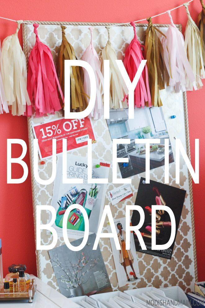 Diy Crafts Ideas : Do It Yourself Stenciled Magnetic Bulletin Board #DIY