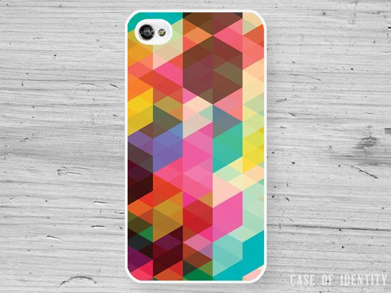 Abstract geometric iPhone 4 Case - colourful colorful triangle pattern - iphone4 iphone4s 4s Phone Cover - 1007. £9.99, via Etsy.