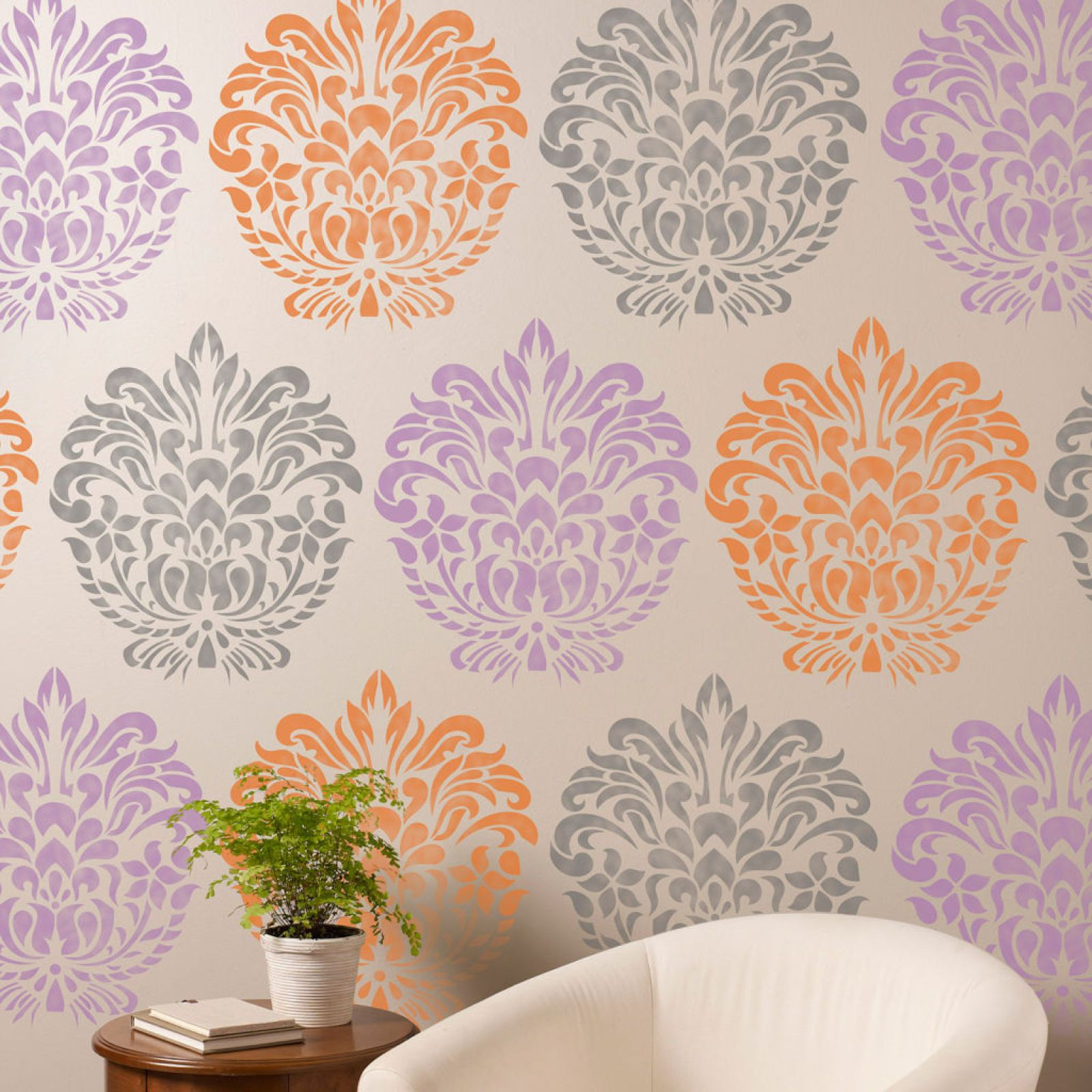 Artminds damask stencil wall ideas to ponder pinterest artminds damask stencil wall amipublicfo Gallery