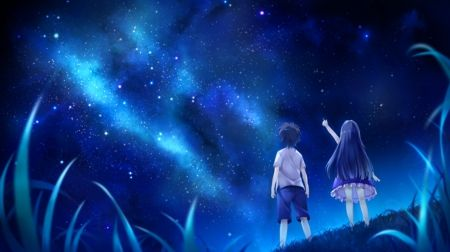 Wallpaper Engine Girl Falling Music Night Sky Anime Love And Romance Wallpapers And Images