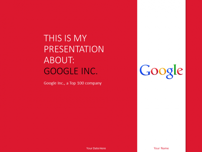 Free Google Inc Powerpoint Template Red  Top  Global Companies