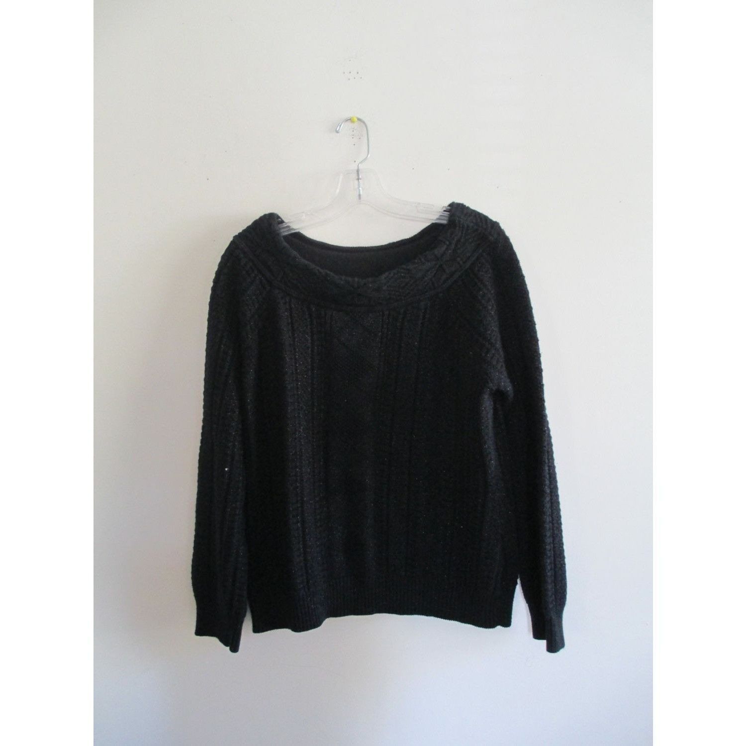 Vintage Ralph Lauren Black Metallic Cable Knit Sweater Sz Large ...