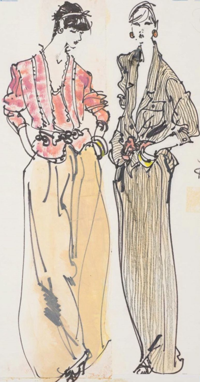 Fashion illustration by Kenneth Paul Block (1925–2009), 1980, Two female models in dinner pant suits American, design by Geoffrey Beene, Fairchild Publications, W Magazine.