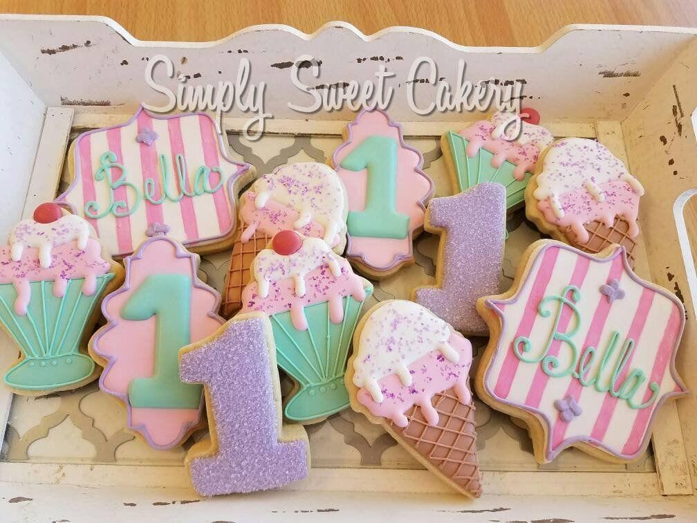 Ice cream Birthday Cookies #icecreambirthdayparty