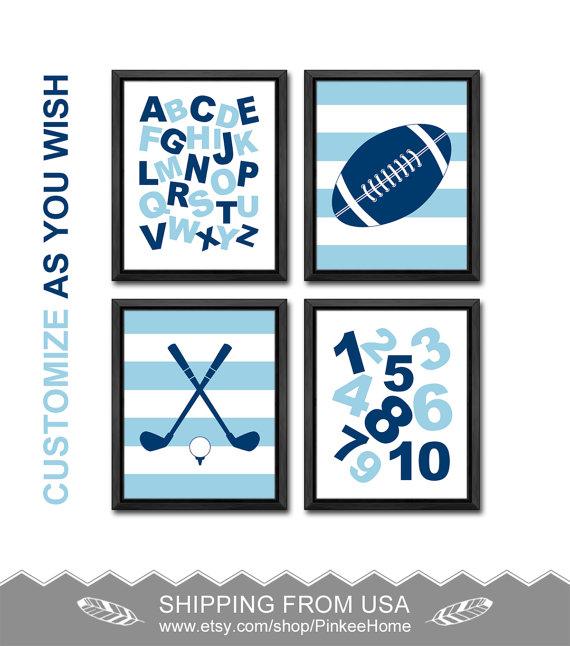 Sports nursery wall decor, alphabet nursery, sports baby decor, abc ...