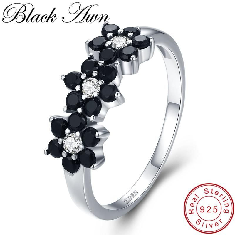 c80fb823fd91d BLACK AWN] Vintage 2.1g 925 Sterling Silver Jewelry Bague Flower ...