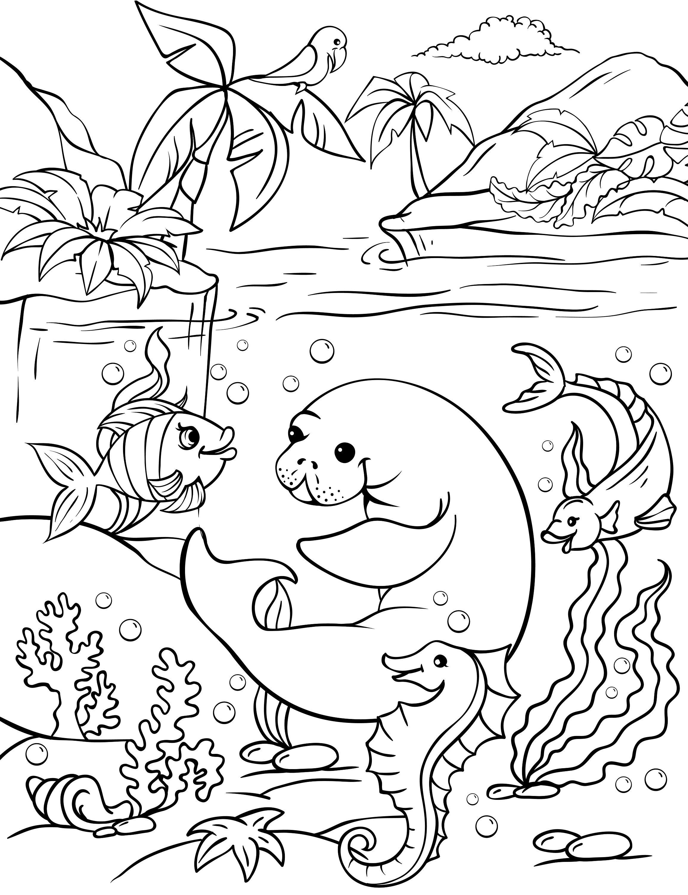 2 Pages Coloring With Sea Animals Digital Coloring For Kids Etsy In 2021 Free Kids Coloring Pages Free Coloring Pages Ocean Coloring Pages