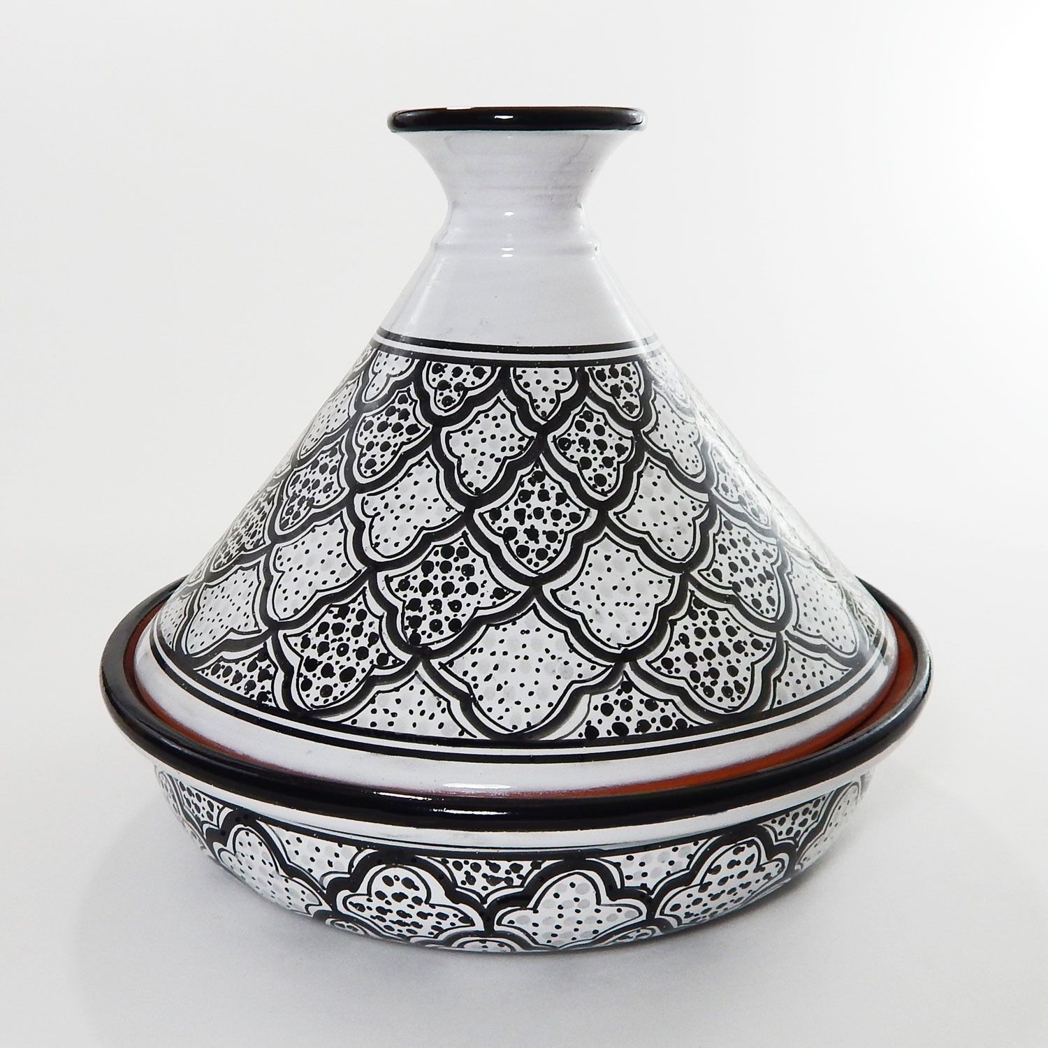 Le Souk Ceramique Handmade Black White Honeycomb Ceramic 12 Inch Cookable Tagine Tunisia 12in Honey Design