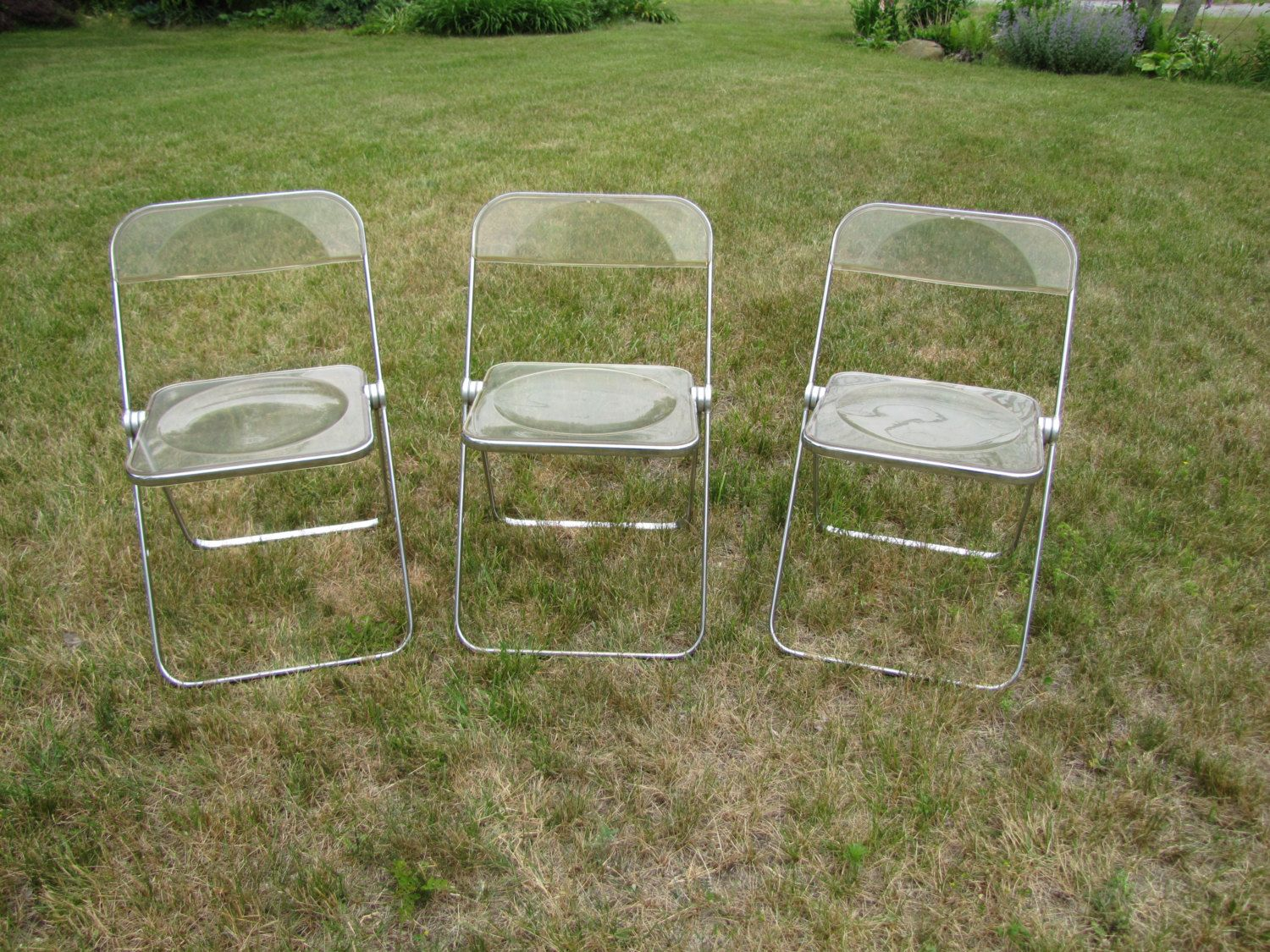 Vintage Lucite Folding Chair Plia Anonima Castelli Italy Two Available Lucite And Chrome Folding Chairs Clear Fol Vintage Lucite Folding Chair Chrome Chair