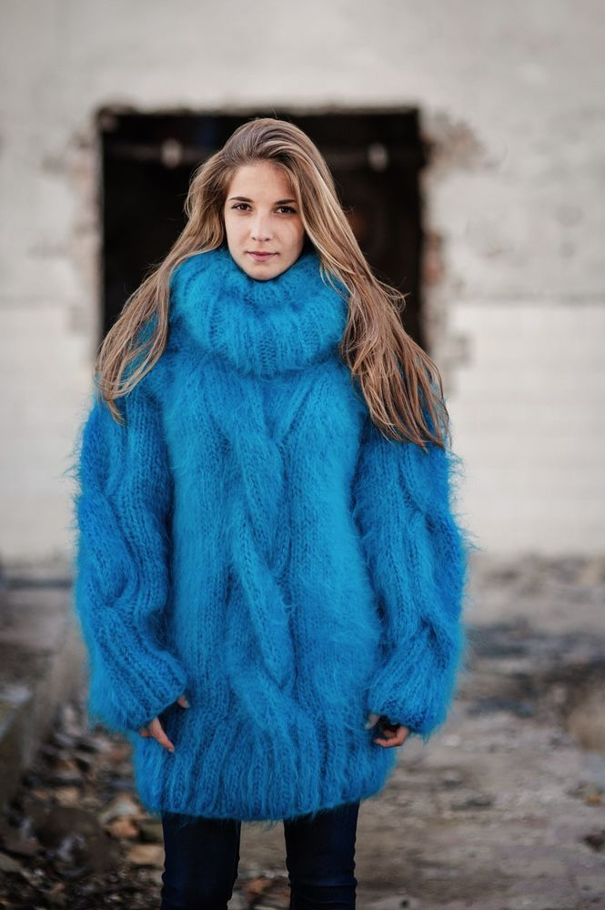 hand knitted mohair sweater T-neck chunky THICK turquoise blue ...