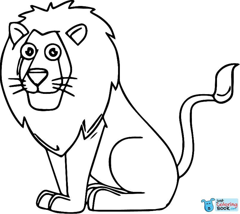 Lion Sitting Cartoon Animal Kingdom Coloring Page In Free