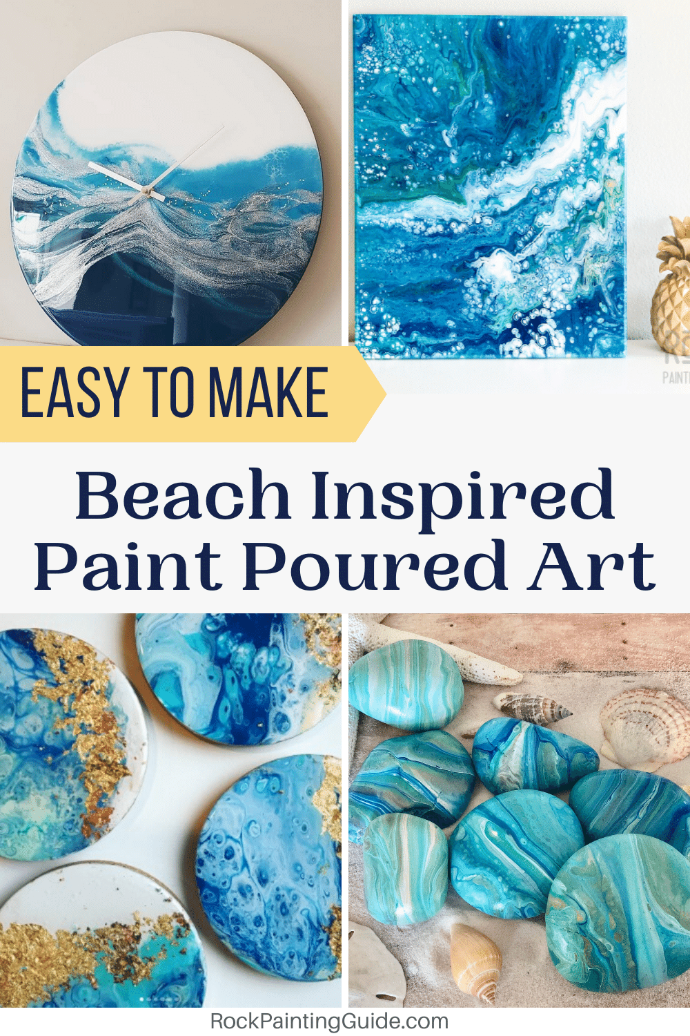 EASY Beach Inspired Paint Pouring Art