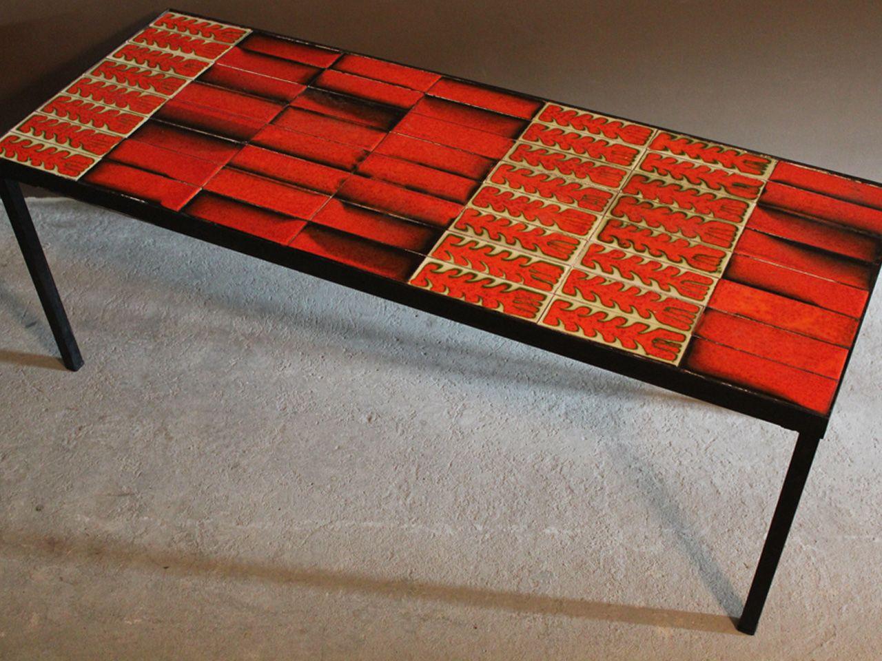 Table Basse En Ceramique De Vallauris Roger Capron 1960 Design Market Table Basse Grande Table Basse Decor Geometrique