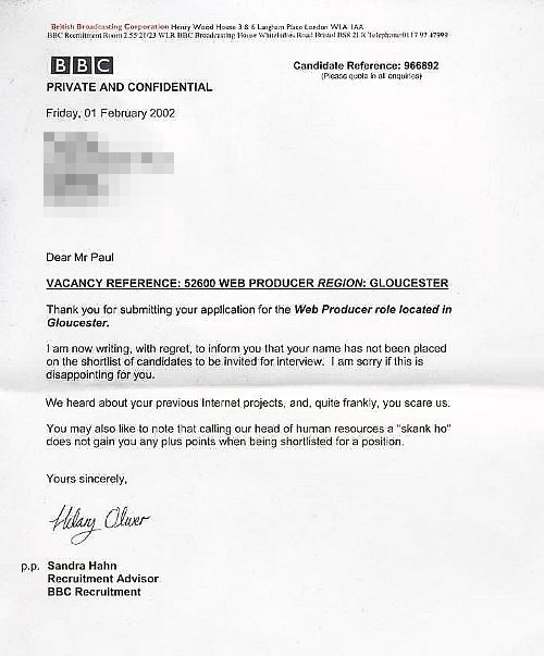 Epic Rejection Letter From The Beeb  Hahahahaha  Geek Out