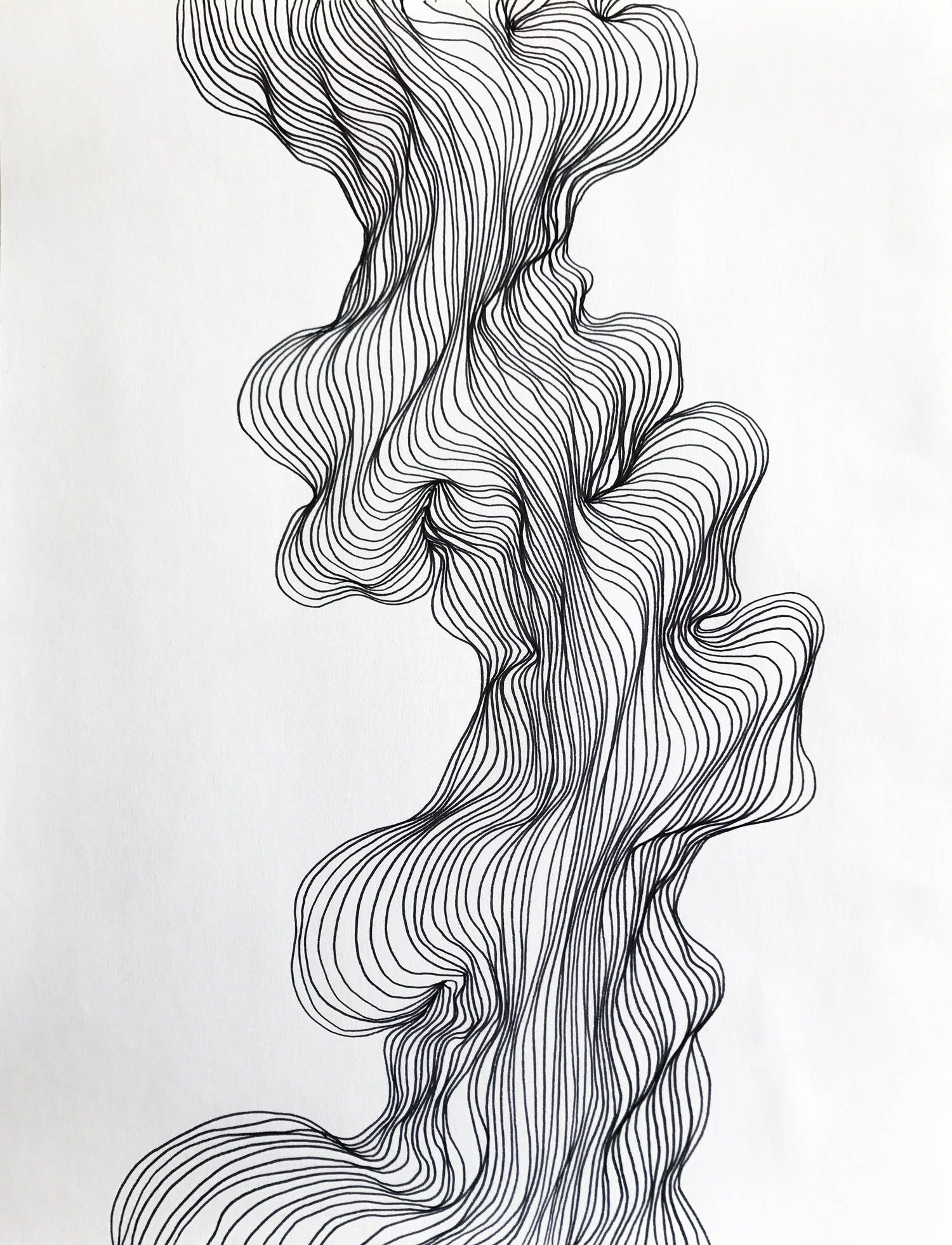 Line Drawing Abstract : Abstract line art black and white modern drawing organic
