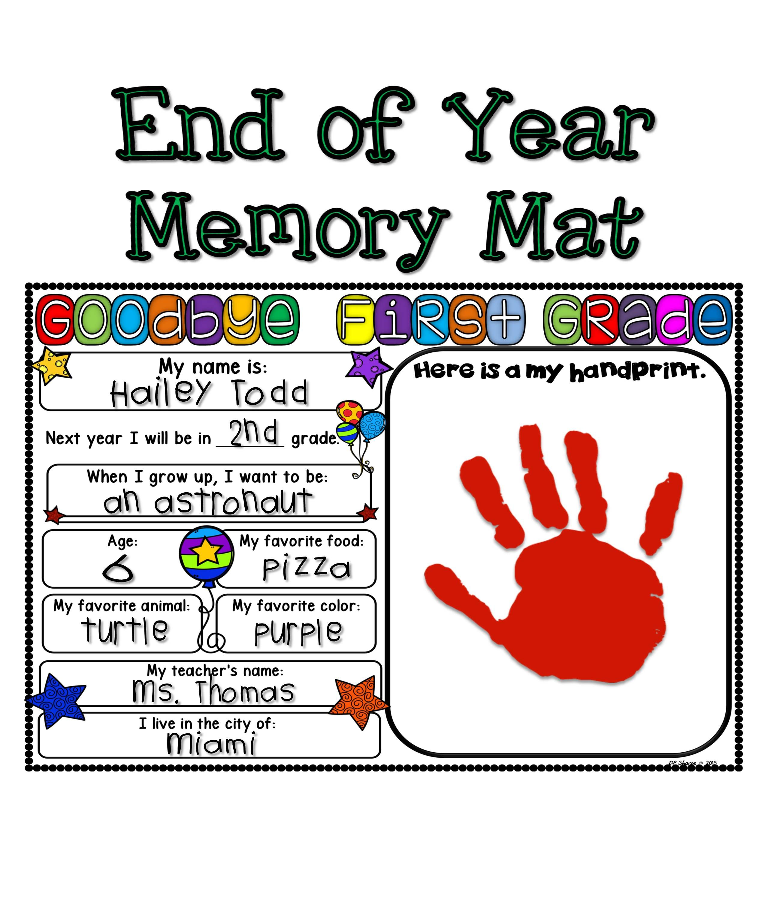 End Of Year Memory Mats K 2