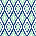 Diamond Ikat Navy, Mint Green & White