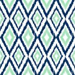 Diamond Ikat Navy, Mint Green & White
