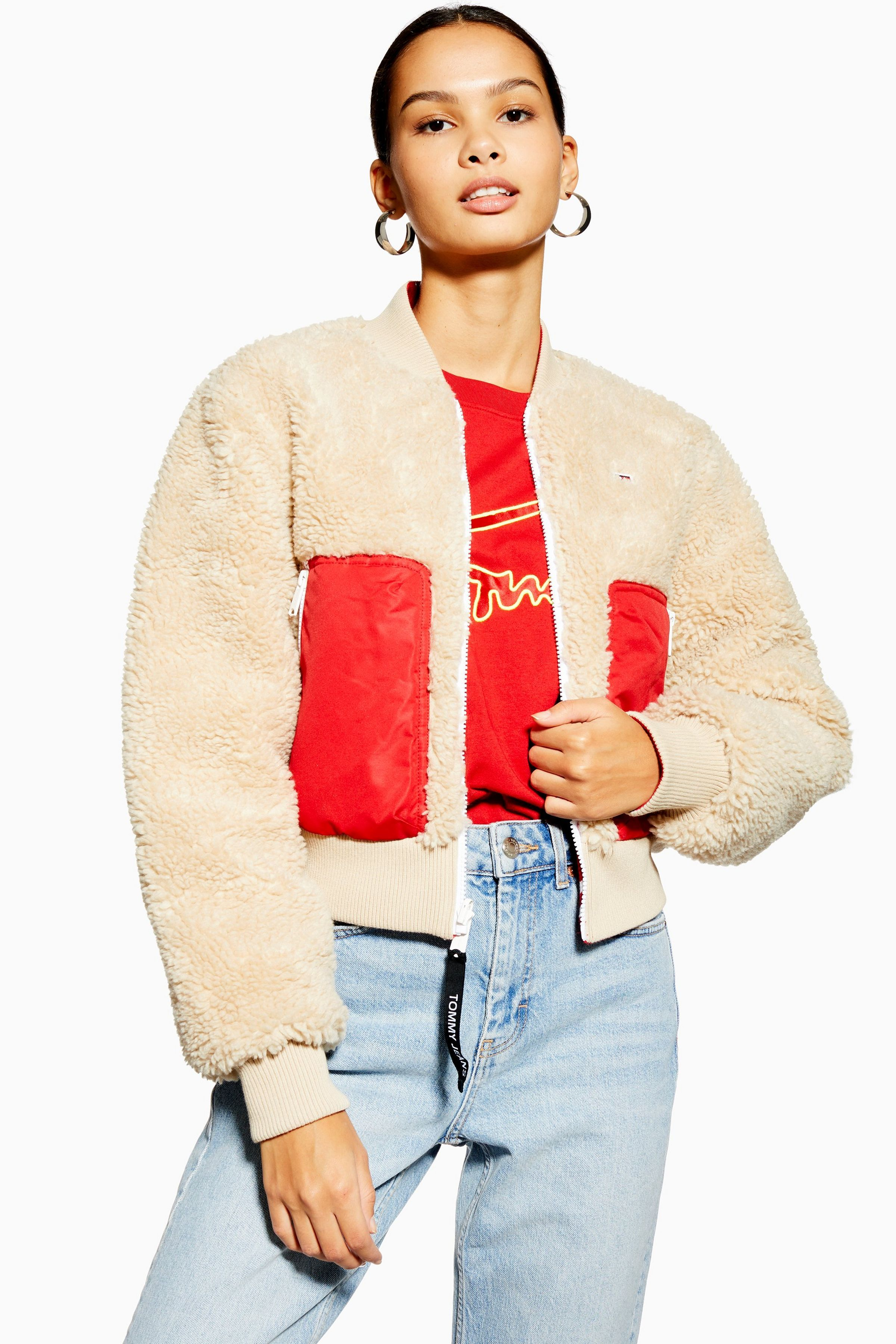 Sherpa Bomber Jacket By Tommy Jeans Topshop Bomber Jacket Tommy Jeans Womens Sherpa [ 3600 x 2400 Pixel ]