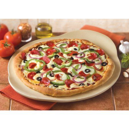 Marvelous Haeger Potteries 15 Inch Round Handled Oven Pizza Stone, Beige