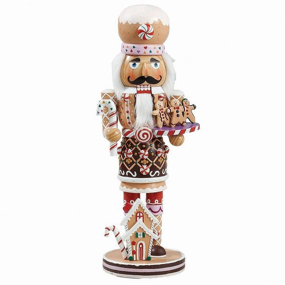This Kurt Adler 16-Inch Gingerbread Nutcracker is a fun, festive way to add to your holiday dcor! This nutcracker is a tan gingerbread-like color head to toe, and is adorned with sweet-looking decorations like peppermint candies, candy canes, chocolate, icing, and sprinkles, while at the same time dressed much like a chef! Color: Multicolor. Material: Wood.