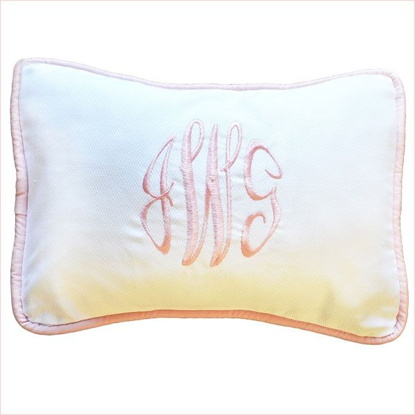 White Pique Pillow with Pink Cording | Personalized Keepsake Pillow