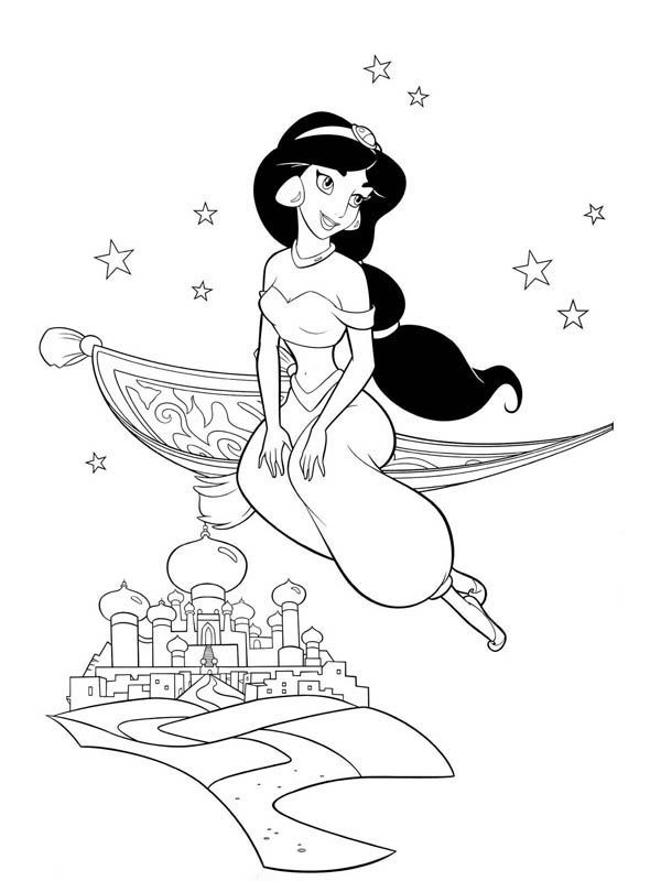 Princess Jasmine on Magic Carpet Coloring Page | desenho aladim ...