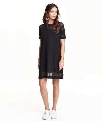 04b213c6e4d Short T-shirt dress in jersey with inset mesh sections. T Shirt Noir