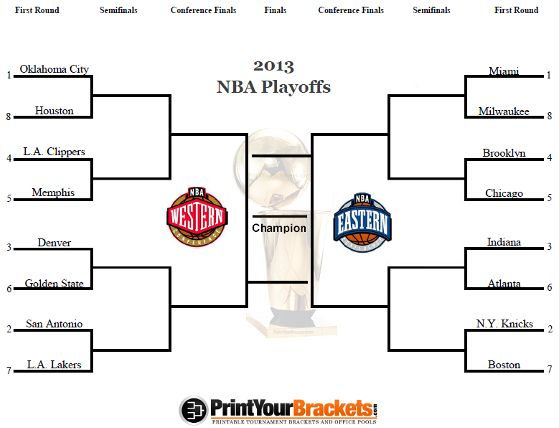 image relating to Printable Nba Playoff Bracket named Printable NBA Playoff Bracket - 2013 NBA Playoff Matchups