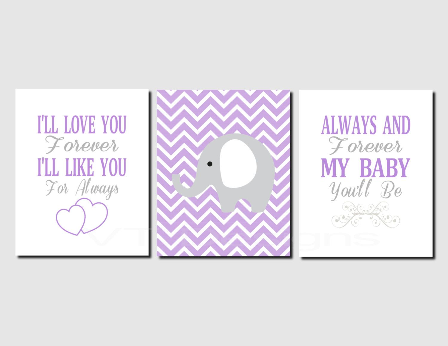 I Ll Love You Forever Quote I'll Love You Forever Girl Nursery Wall Art Purple Gray