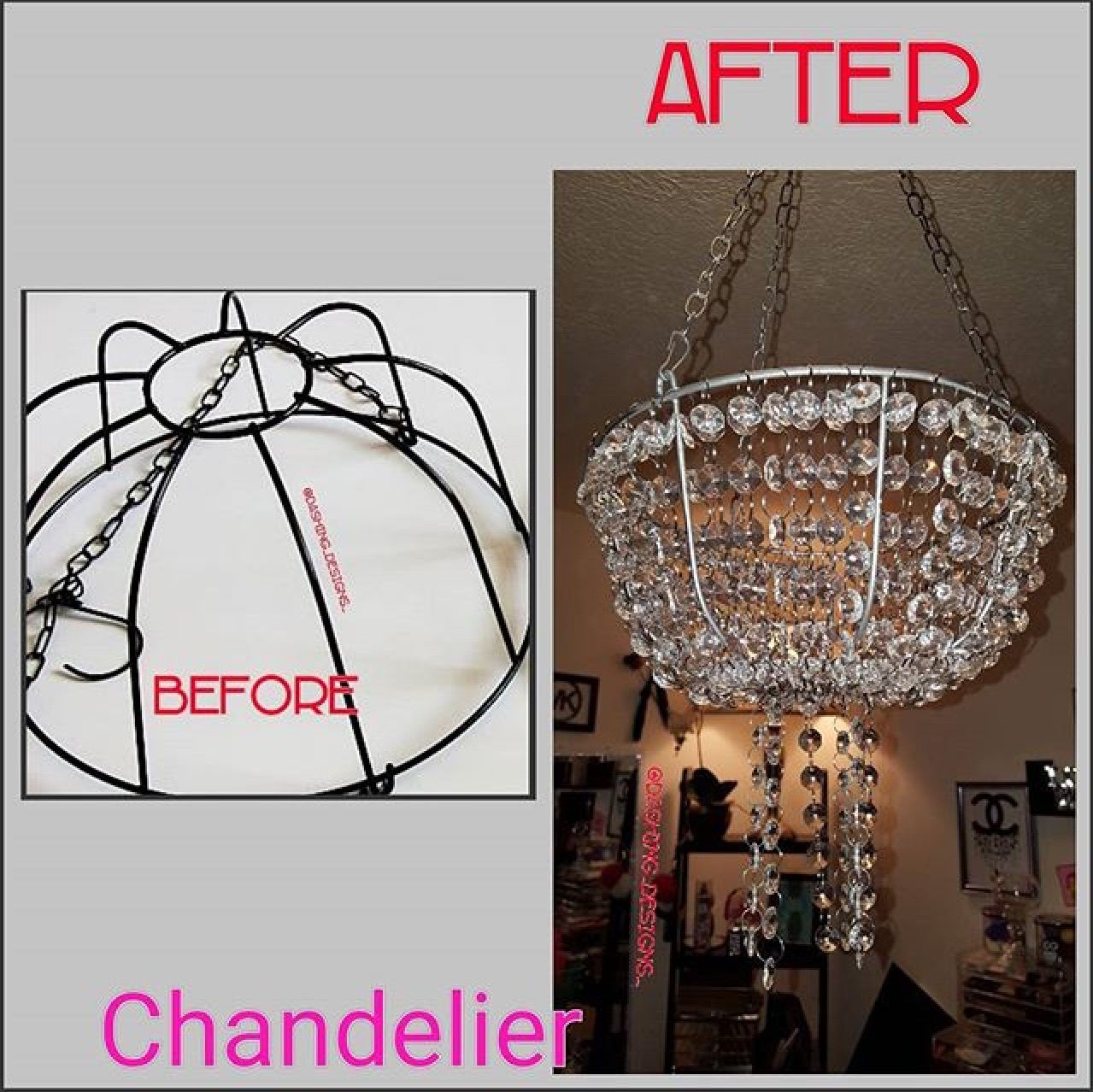 My diy chandelier made from a dollar tree flower basket the my diy chandelier made from a dollar tree flower basket the crystals came from amazon aloadofball Image collections
