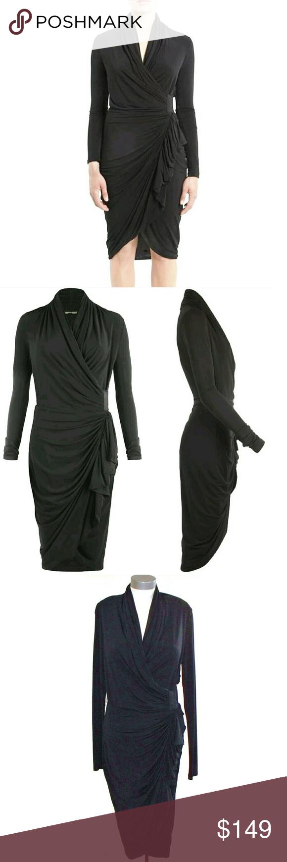 Allsaints swinton long sleeve drape wrap dress my posh picks
