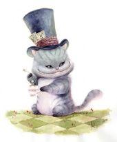 KEI ACEDERA2  Tea Time with  Cheshire Cat  Gouache sur papier