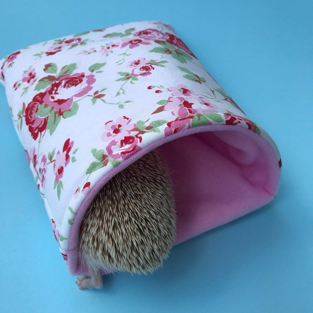 Pink Floral Hedgehog Cosy Snuggle Cave Padded Stay Open Snuggle