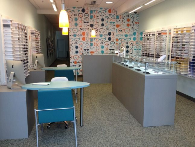 Modern Optometry showroom in Fair Lakes, Fairfax, VA.  Call 703-272-8300.  www.modernoptometry.com.  #modernoptometry #fairlakes #fairfax #gmu #eastmarket #eyedoctor #optometrist #eyewear #glasses #design #interior #wallpaper #graphic #eyeglasses