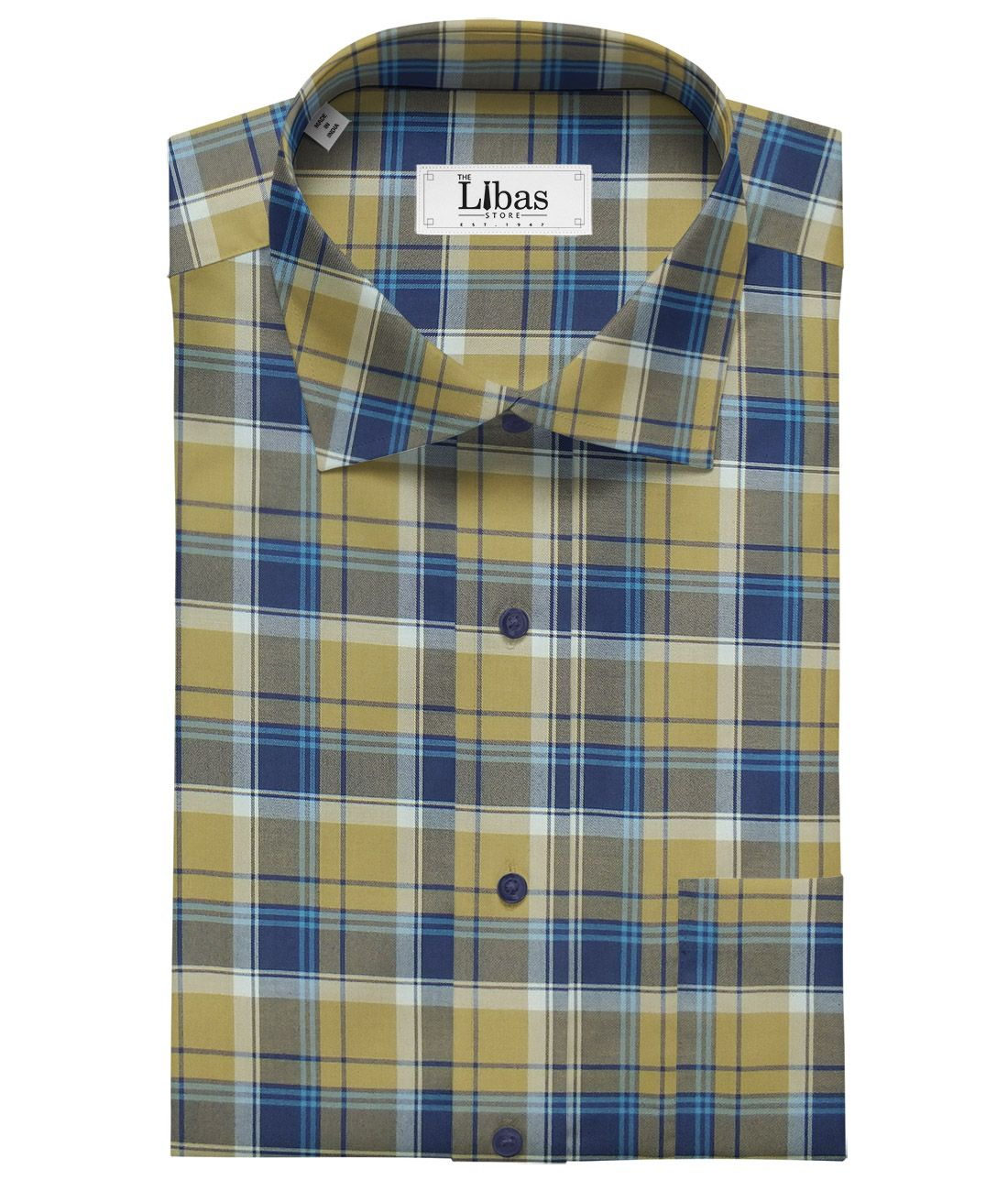 eddabcb1 Giza House by Soktas Biege & Blue 100% Giza Cotton Burberry Checks Shirt  Fabric (1.60 M)