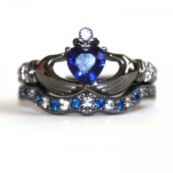 Love this!!  925 Sterling Silver Engagement / Wedding Bridal Ring Set With Dark Blue CZ Inlaid - USD $129.95