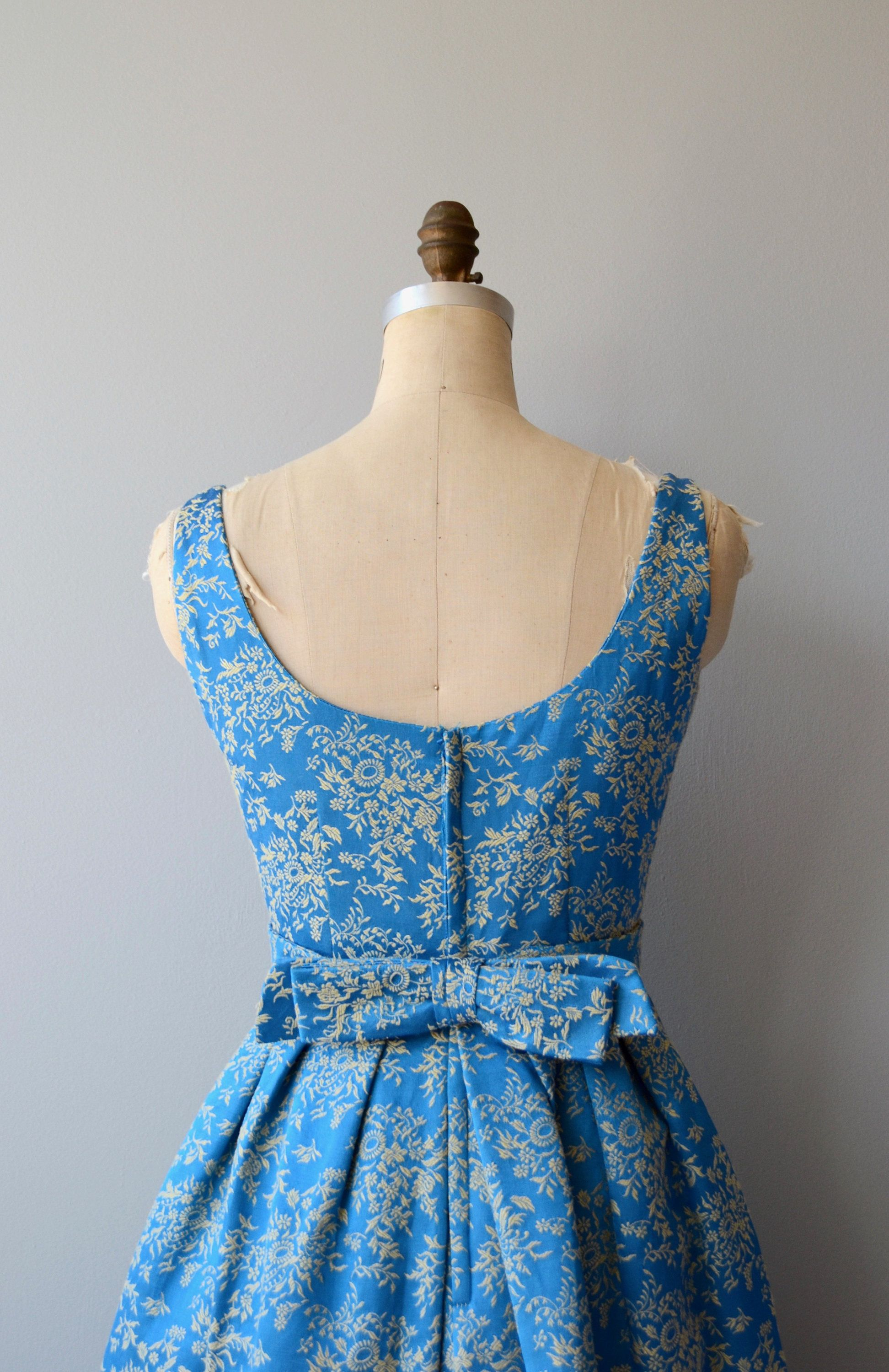 Vintage 1960s bright blue and gold floral brocade party dress with ...