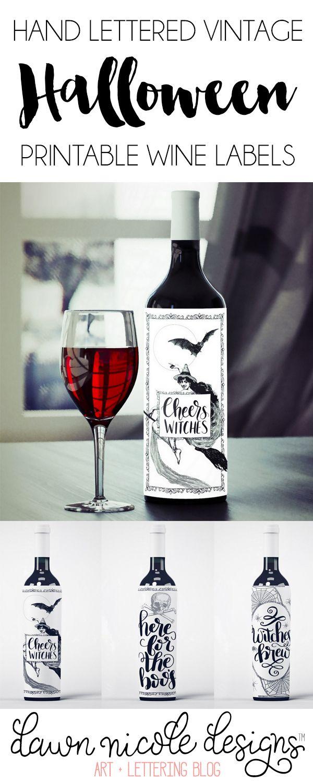 printable halloween wine bottle labels