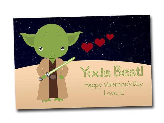 Star Wars Inspired Valentine Cards Yoda Valentine By MaddScrapping, $5.00