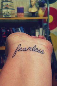Fearless Tattoo Wrist Cursive