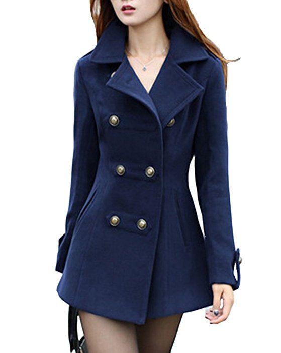 424921fcc1926 Mujer Abrigo Trench Chaqueta Solapa Manga Larga Doble Botones Coat Jacket  Azul M