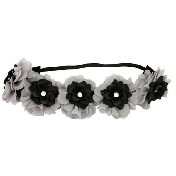 Grey & Black Flower Stretchy Headband | Hot Topic ($6.50) ❤ liked on Polyvore featuring accessories, hair accessories, clear headband, flower headbands, hair band accessories, hair band headband and head wrap hair accessories