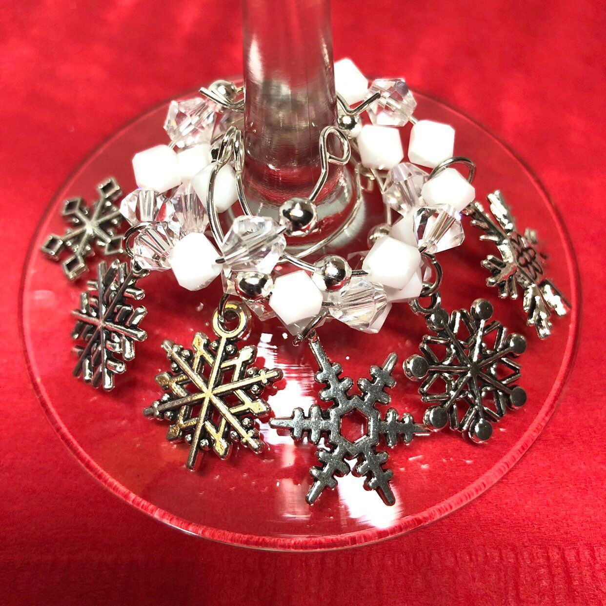 Snowflake Themed Wine Glass Charms Etsy Wine Glass Charms Themed Glasses Wine Glass
