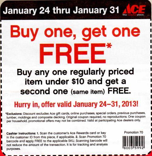 Ace Hardware Bogo Free Printable Coupon Free Printable Coupons Printable Coupons Printables