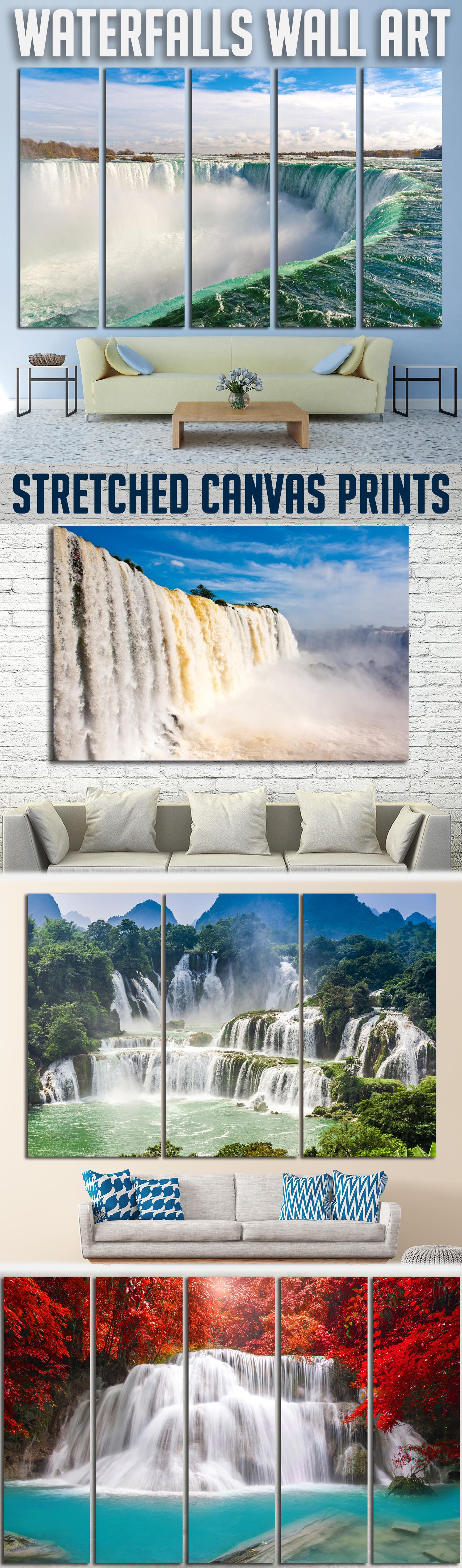 Waterfall wall arts canvas print for home decor waterfalls wall
